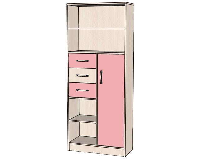 Детская Буратино Шкаф Стеллаж розовый